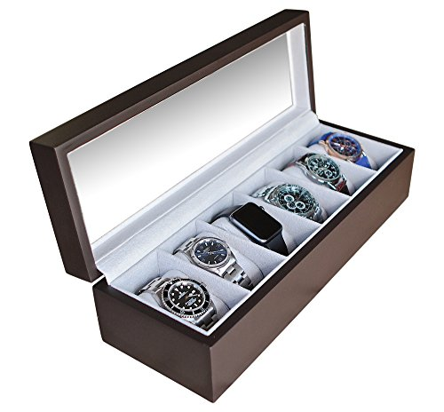 Solid Espresso Wood Watch Box Organizer with Glass Display Top by Case Elegance