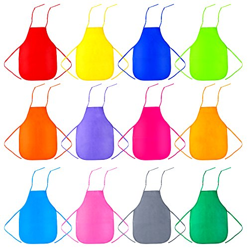 Caydo 12 Pieces 12 Colors Children's Artists Fabric Aprons for Kitchen, Classroom, Community Event, Crafts and Art Painting Activity ()