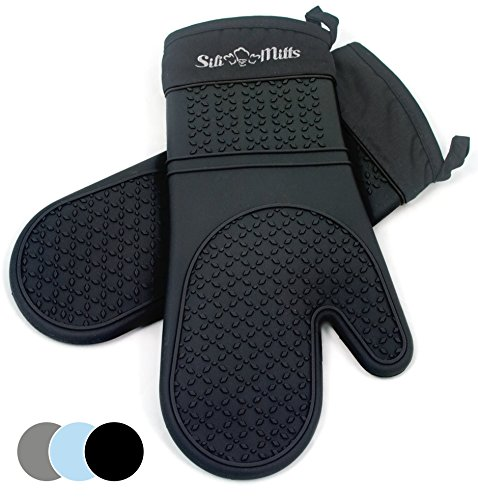 Black Silicone Oven Hot Mitts - 1 Pair of Extra Long Professional Heat Resistant Pot Holder & Baking Gloves - Food Safe, BPA Free FDA Approved With Soft Inner (Le Creuset Oven Mitt)