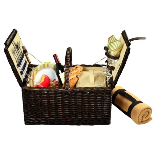 Picnic at Ascot Surrey Willow Picnic Basket with Service for 2 with Blanket - - Carrier Wine Hamptons