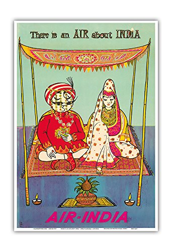 Pacifica Island Art There is an AIR about INDIA - Indian Maharaja - Air India - Vintage Airline Travel Poster c.1950s - Master Art Print - 13in x 19in