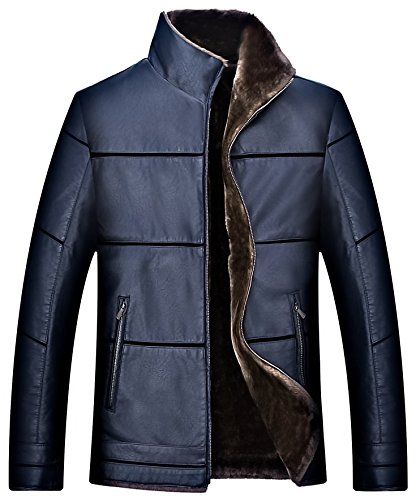 Faux Leather Parka PU Business Warm Outerwear Short Fur Heavy Jacket K1517 Coat moxishop Men's Casual Blue Lined Fleece Winter ASq7txI