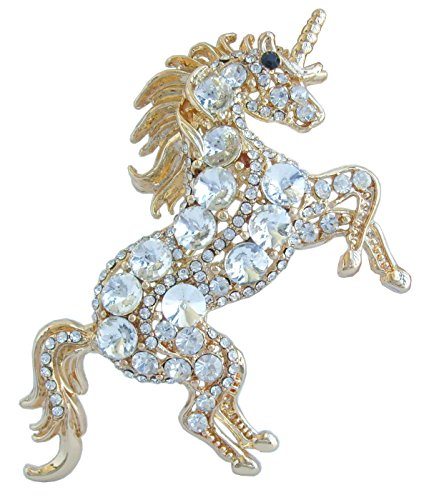 Sindary Unique Animal Unicorn Horse Brooch Pin Pendant Austrian Crystal BZ6172 (Gold-Tone Clear)