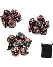 DollaTek polyedrale dobbelstenen set tafelspellen dobbelstenen 3 sets dobbelstenen 3 x 7 (21 stuks) matrijsserie D20 D12 D10 D8 D6 D4 DND dobbelstenen DND RPG MTG dubbele kleuren één stuk (nieuw rood en zwart)