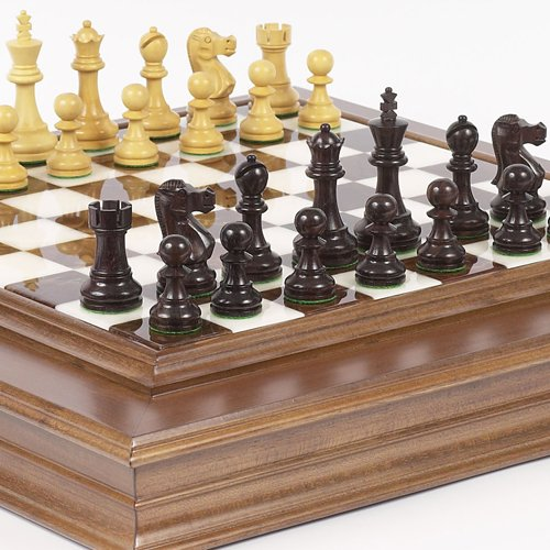 Prince Staunton Rosewood Chessmen & Alabastro Luxury Cabinet Board from Italy