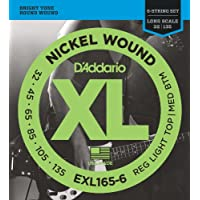 Cuerdas de bajo D'Addario EXL165-6 para bajo de níquel de 6 cuerdas, Luz personalizada, 32-135, Escala larga