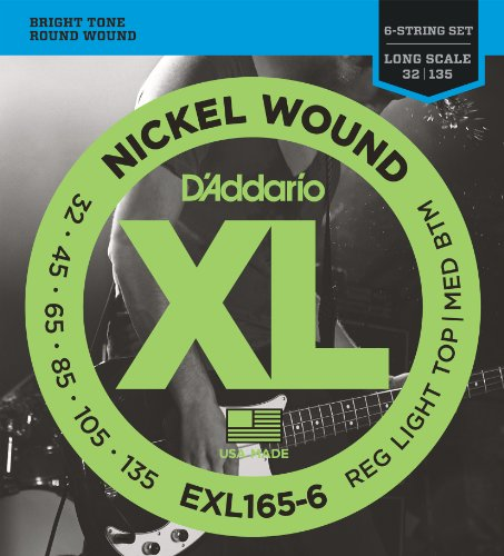 Daddario Custom Light - D'Addario EXL165-6 6-String Nickel Wound Bass Guitar Strings, Custom Light, 32-135, Long Scale