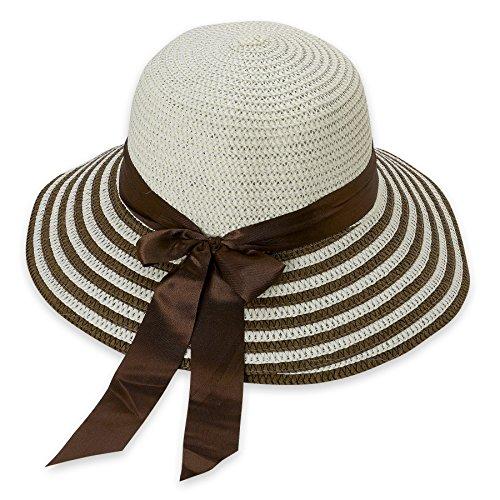 Debra Weitzner Women's Straw Floppy Beach Sun Hat Summer Striped Band
