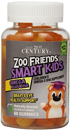 21-го века Зоопарк Друзья умные дети Омега Плюс DHA Gummies, Апельсин, лимон, Кран-оранжевый, 60 граф