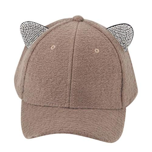 Soft Warm Cotton Mother&Me Kid Boy&Girl Hat Cute Adjustable Cat Ears Baseball Cap Hat Winter Outdoor Sports Head Accessory (Coffee)