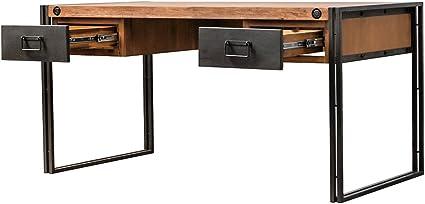 Mueble de escritorio vintage de madera maciza y estructura metálica, 2 cajones, estilo indusrcial, acabado cuidado, colección Workshop