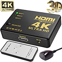 Hhusali Intelligent 3-Port HDMI Switch, Supports 4K, Full HD1080p, 3D with IR Remote (Black-3Port)