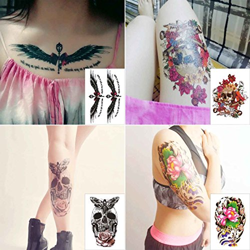 - COKOHAPPY 4 Sheets Temporary Tattoo Half Arm for Women Men Extra Sleeve Lotus Rose Flower Wing Skull Butterfly Bow Word Shoulder Chest Back
