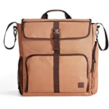 Diaper Dude Convertible Diaper Bag for MEN & DADS Organizer Tote Backpack Heavy Duty Messenger w/ Removable Changing Pad, Stroller Straps, MULTIPLE POCKETS and INSULATED Bottle Holder in Carmel Brown