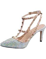 SHOELIN Silver Heels-Rhinestone, Women Handmade Crystal Strappy Party Wedding Dress Shoes Mid Heel Pumps for Womens...