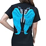Country Life Guns and Angel Wings Black and Blue Short Sleeve Shirt (Large) offers