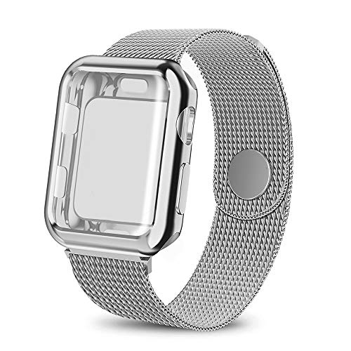 (BicasLove Compatible for Apple Watch Band with Screen Protector 44mm, Sport Strap with Protective Case for iWatch Series 4)