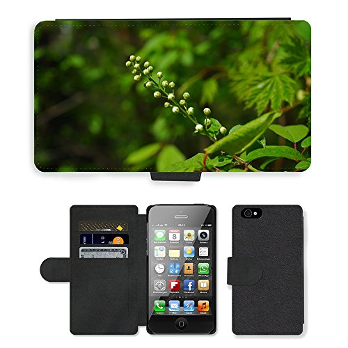 Just Phone Cases PU Leather Flip Custodia Protettiva Case Cover per // M00128696 Inflorescence Bud White // Apple iPhone 4 4S 4G