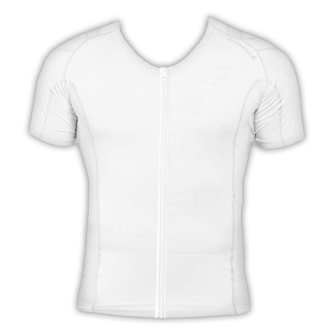 White XSmall ALIGNMED Posture Shirt  Mens Zipper Shirt, Posture Support, Compression, Breathable