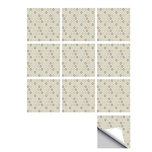 C COABALLA Ikat Decor Stylish Ceramic Tile Stickers 10 Pieces,Ikat Style Ornamental Lines and Pattern Oriental Indonesian Art Technique Decor for Kitchen Living Room,7