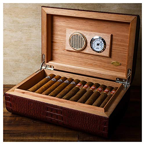 Portable cigar box Cigar Box, Cedar Wood Lining Quality Leather Cigar Cabinet Cigarette Case with Hygrometer and Humidifier Thickened Seal, Large Capacity Can Accommodate 36 Cigars, Men's Gift Box, Bl by Ac498 (Image #5)