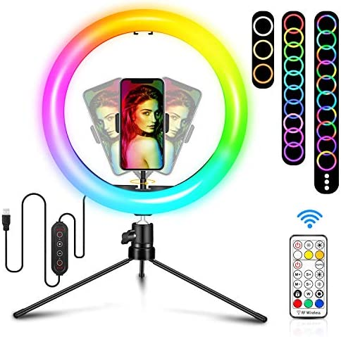 "10.2"" Selfie Ring Light with Tripod Stand Dimmable RGB Ringlight with Phone Holder 29 Colors Changing, Speed Adjustable Live Streaming, Photography Makeup Sefie LED Lights Ring for iPhone Android"
