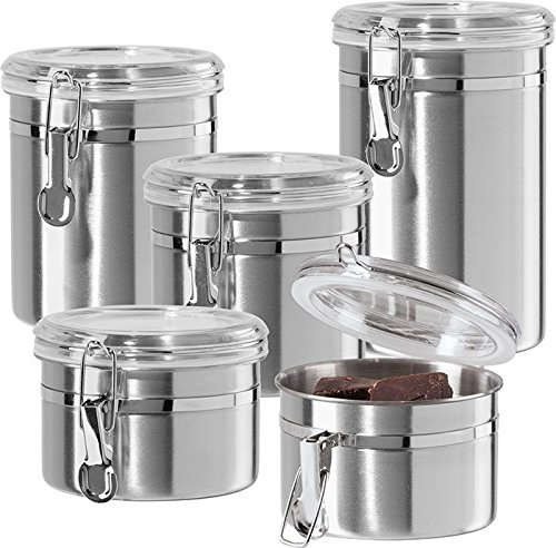 Storage Canister Set (Oggi 5 piece Stainless Steel Canister Set 9325)
