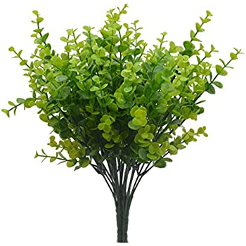 Bird Fiy Faux Plastic Eucalyptus Leaves Bushes Fake Simulation Greenery Plants Indoor Outside Home Garden Office Verandah Wedding Décor -4pcs(JQC)