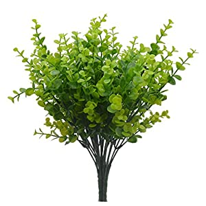 Bird Fiy Faux Plastic Eucalyptus Leaves Bushes Fake Simulation Greenery Plants Indoor Outside Home Garden Office Verandah Wedding Déco 50