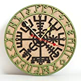 Vegvisir viking compass unique Icelandic Viking rune for luck and blessings,decor wooden wall clock emerald green. Personalized, housewarming, one-of-a-kind, gift