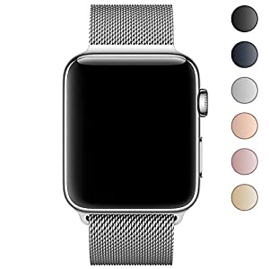 Walcase for Apple Watch Band, Fully Magnetic Closure Clasp Mesh Milanese Loop Stainless Steel iWatch Band for Apple Watch Series 3 2 1 Sport and Edition 38mm 42mm (38mm, Silver Milanese)