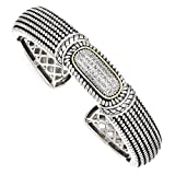 IceCarats 925 Sterling Silver 14k 1/4ct. Diamond Cuff Bracelet Bangle