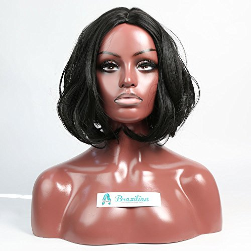 Youmily Short Bob Wig 12'' Straight Heat Resistant Black Synthetic Wig for Cosplay Daily Party Wig Natural As Real Hair Bob Wigs For Women