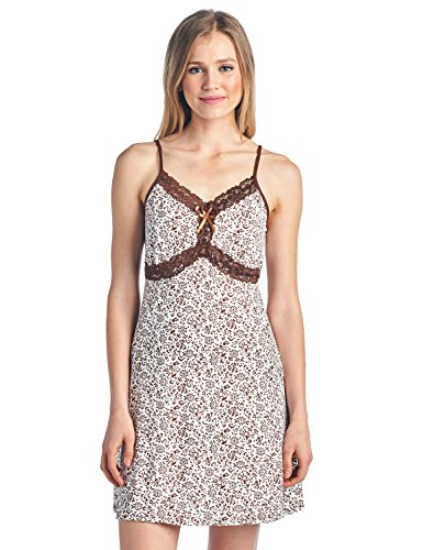 Casual Nights Women's Sleepwear Slip Nightgown Chemise Nighty - Brown - X-Large (Chemise Womens Brown)