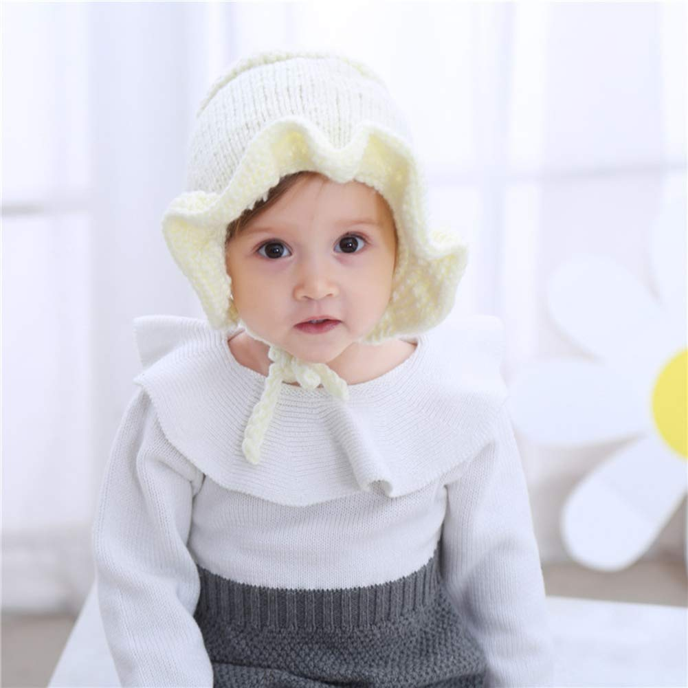 Happy childhood Baby Toddler Girls Ribbed Knit Children/'s Winter Hat Beanie Cap Cute Warm Lacy Princess Knitted Cap