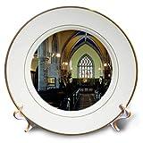 3dRose Jos Fauxtographee- Chapel Inside in London - an Amazingly Beautiful Stain Glass Chapel Window in London - 8 inch Porcelain Plate (cp_293688_1)