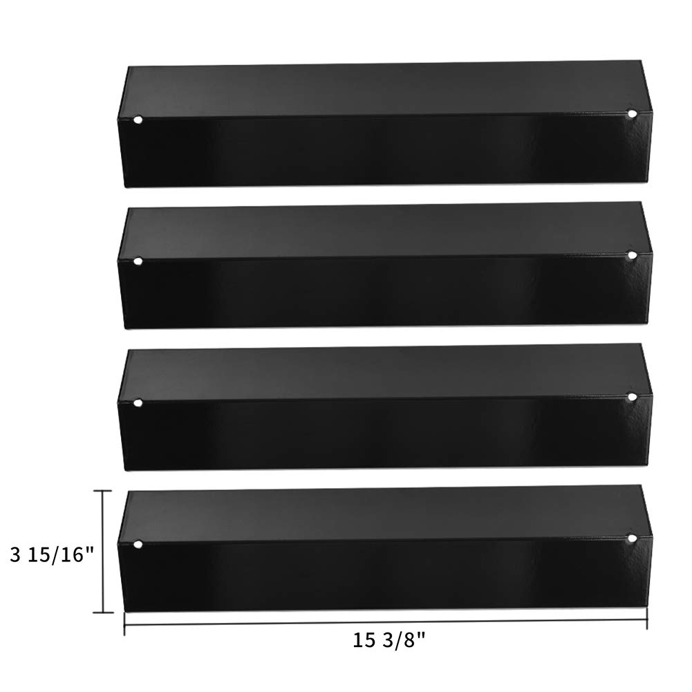 SHINESTAR Grill Heat Plate for Brinkmann Grill Replacement Parts, Heat Tent Shield Deflector for Uniflame, Aussie and Others, 4-pack 15 3/8 inch Porcelain Steel BBQ Flame Tamer Burner Cover(SS-HP005)