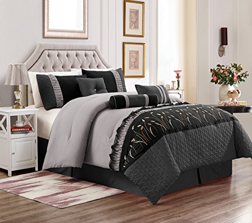 Unique Home 7 Piece Marcia Patchwork Bed in a Bag Comforter Set Burgundy (Black/Grey, Calking) by Unique Home