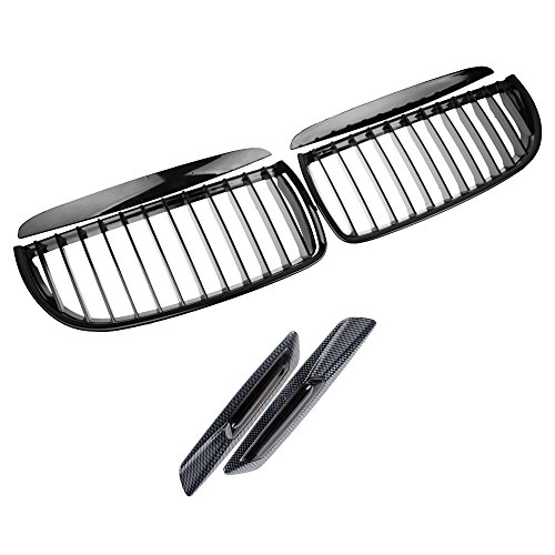 2X Euro Front Upper Kidney Grille Grill LH RH Kit Replacement for BMW Car E90 Pre-Facelift (Glossy Black, w/Smoke Lens Side Marker)