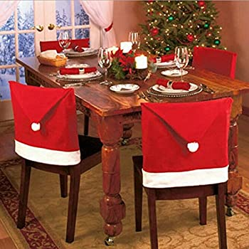 Christmas Decorations Santa Hat Claus Chair Back Cover Set Of 2