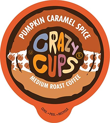 Crazy Cups Pumpkin Spice Flavored Coffee K-Cups with Caramel, Single Serve Pods For Keurig, 22 Pack – Hot or Iced Drinks