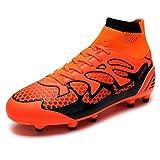 zapatos de football - DREAM PAIRS Men's 160858-M Orange Black Fashion Cleats Football Soccer Shoes Size 11 M US