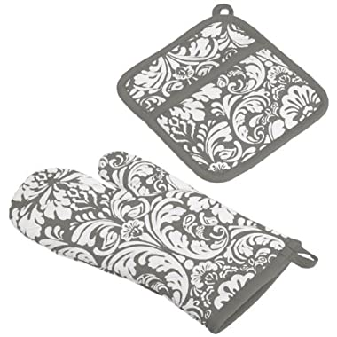 DII 100% Cotton, Machine Washable, Everyday Kitchen Basic, Damask Printed Oven Mitt and Pot Holder Gift Set, Gray