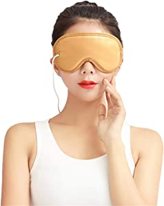 YXIUER Heated Eye Mask - Electric Heating Pad Eye Mask Far-Infrared Therapy Adjustable Temperature, Sleeping USB Heated Eye Massage Mask Sleep Mask for Dry Puffy Eyes, Dark Circle Eye