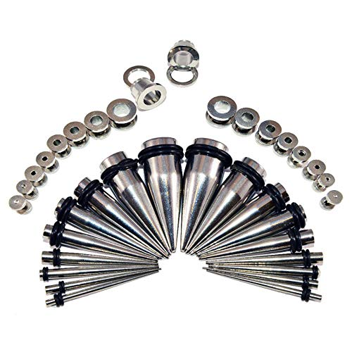 BodyJewelryOnline Stainless Ear Stretching Kit Screw-Fit Plugs & Tapers Set 36pc Gauges 14g-00g