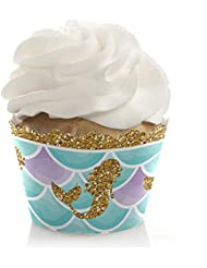 Let's Be Mermaids - Baby Shower or Birthday Party Decorations - Party Cupcake Wrappers - Set of 12