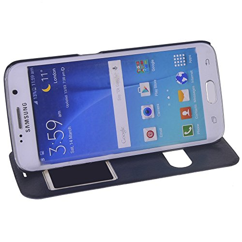 Galaxy S6 edge Funda,COOLKE [Pink] Ultra Delgado Flip Folio View Window Funda Carcasa Protective Case Cover Para Samsung Galaxy S6 edge SM-G925 Sapphire