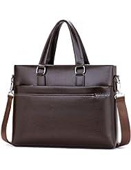 Vbiger PU Briefcase Leather Business Handbag Water-repellent Shoulder Bag