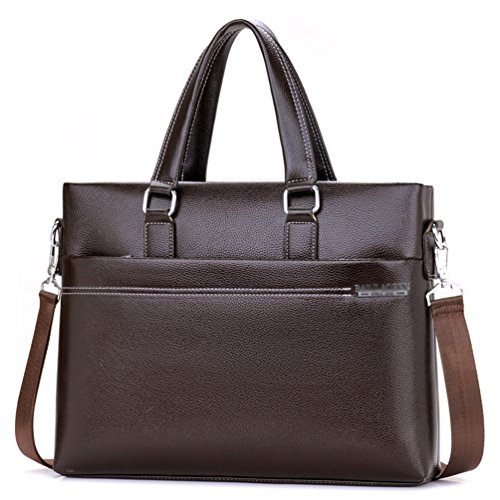 Vbiger PU Briefcase Leather Business Handbag Water-repellent Shoulder Bag (Brown) by VBIGER