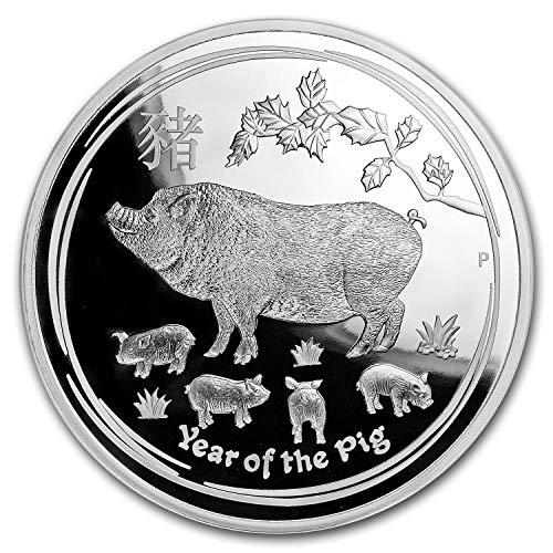 (2019 AU Australia 1 kilo Silver Lunar Pig Proof (w/Box & COA) Silver Brilliant Uncirculated)